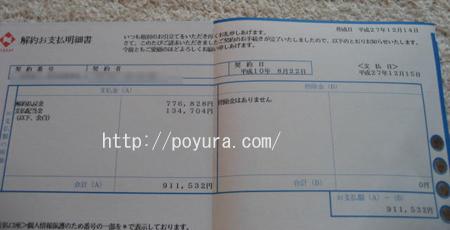 日本生命保険終身保険を解約