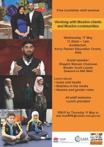 Free lunchtime staff seminar Working with Muslim Clients and Muslim Communities