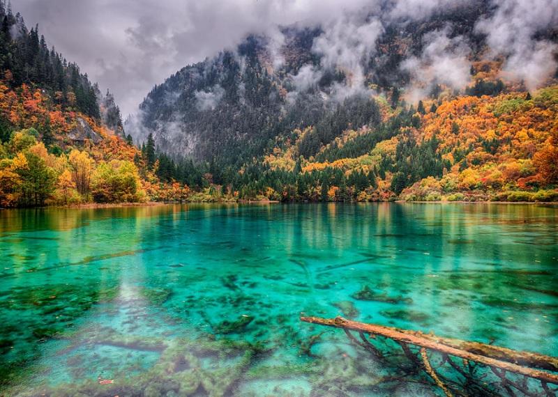 озеро пяти цветов Китай, разноцветное озеро, Цзючжайгоу, незамерзающее озеро,