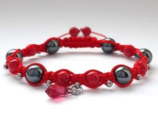 Bransoletka talizman dla kobiet kolor czerwony
