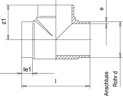 PP-H тройник 10300174, 250мм * 14.2мм