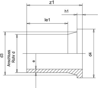 PP-H удлиненные бурты под фланцы 10021405, 180мм * 16.4мм