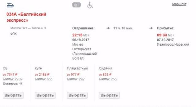 Пример бронирования Москва - Ивангород Нарвский