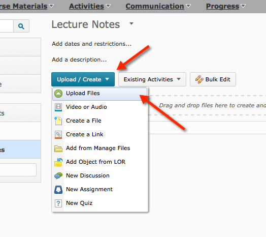Upload/Create menu and then Upload files