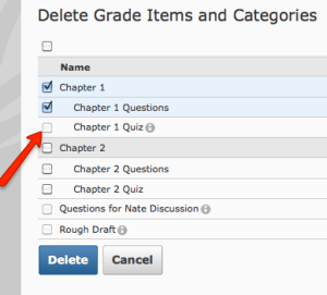 Delete Items and Categories