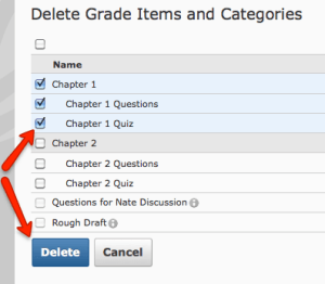 Delete Grade Items and Categories