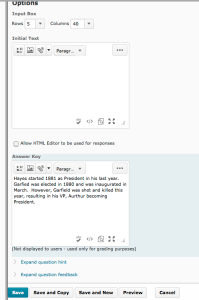 Screenshot showing the process of creating a long answer question in D2L
