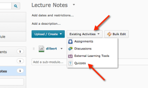 Existing Activities menu, then Quizzes