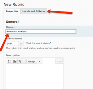 Rubric Title and Tabs