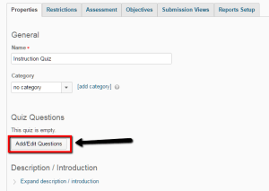 """Screenshot showing Quiz Properties in D2L with """"Add/Edit Questions"""" button highlighted"""