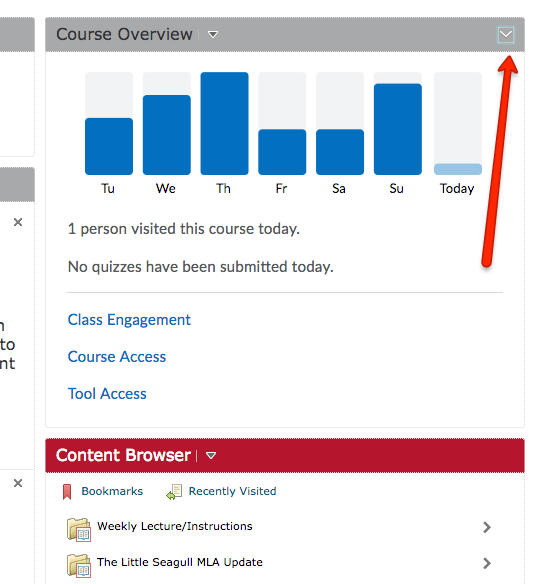 Course Overview widget expanded with option in the upper right to collapse