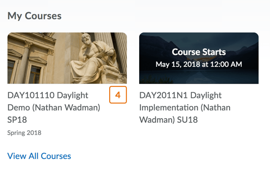 My Courses widget with courses displayed with tiles