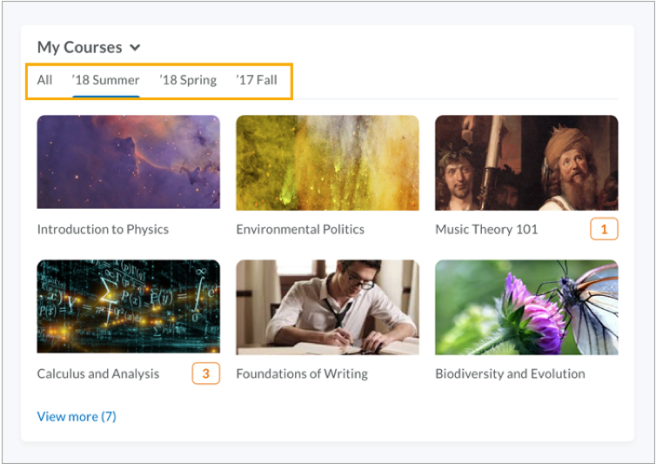My Courses widgets grouped