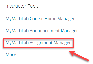 Screenshot showing the links in instructor tools with the Assignment Manager Link highlighted