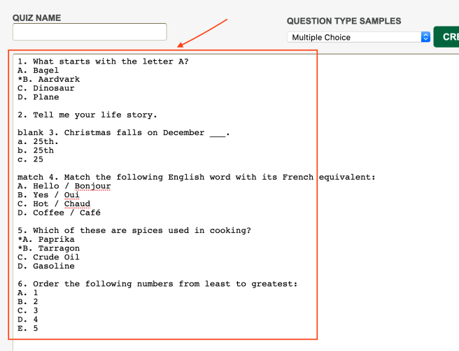 Screenshot showing the area to paste/input questions to be converted.