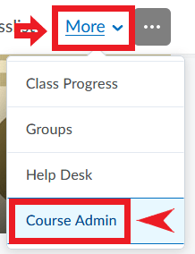 Selecting the Course Admin link from the More menu in D2L