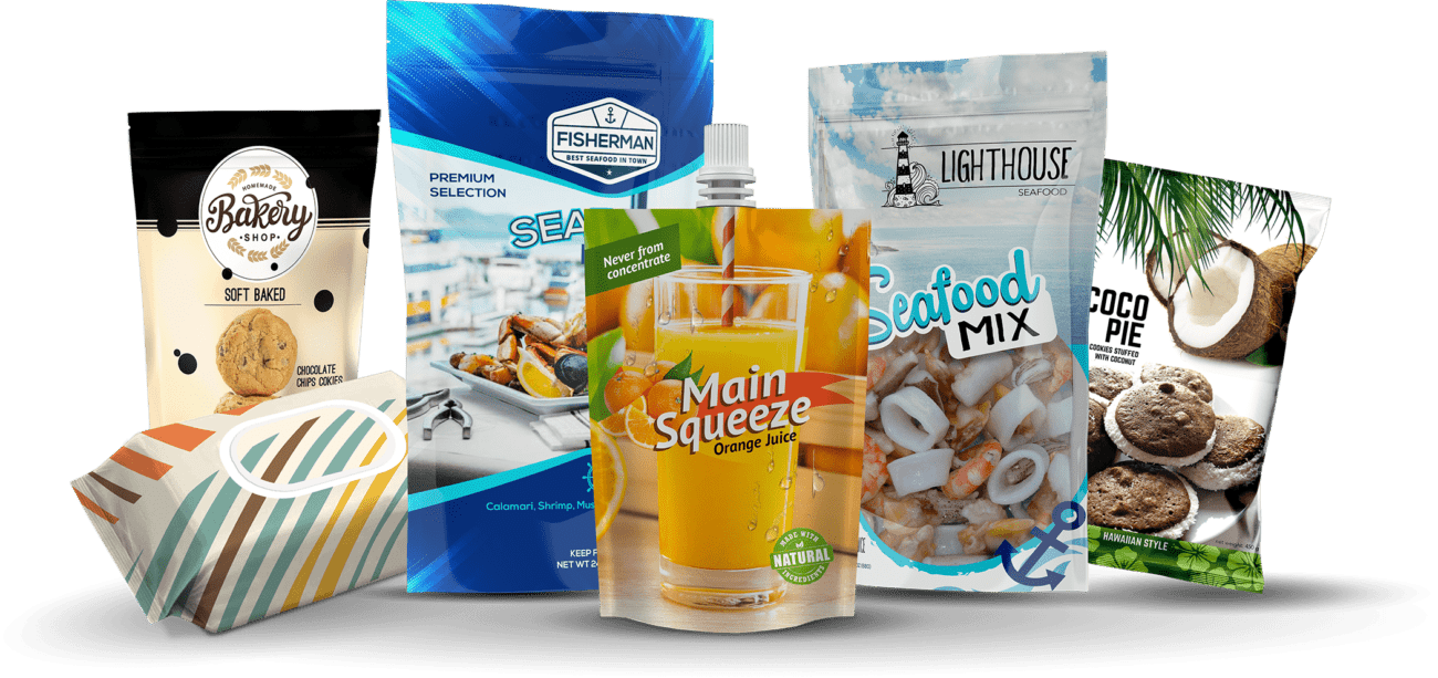Different kinds of consumer flexible packaging with art together