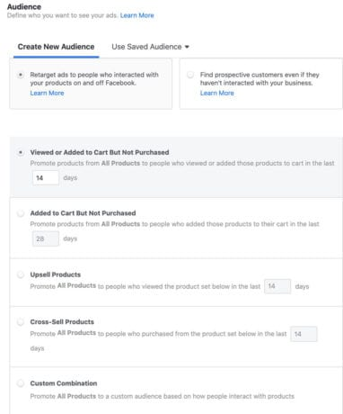 audience options for remarketing within Facebook catalog campaign