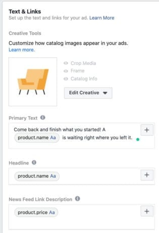 Creating your dynamic remarketing ad in Facebook