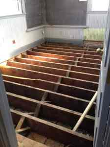 The chief's office was stripped down to the bare floor joists.