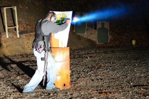 """Officer Carrubba goes through the """"Night Fire"""" course."""