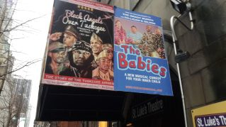 Billboard of plays/shows at St Luke's Theater
