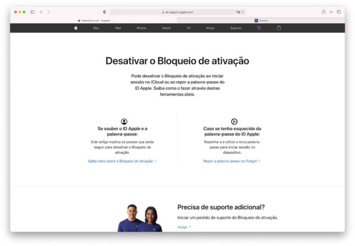 Image of website helping iPhone user to disable Activation Lock