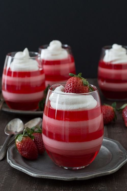 Chicago Apartments, Valentine's Day Treats, Layered Strawberry Jell-O Cups
