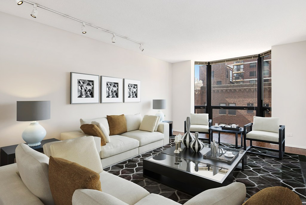 1111 N Dearborn Living Room with View Interior Chicago Apartments Gold Coast - 2