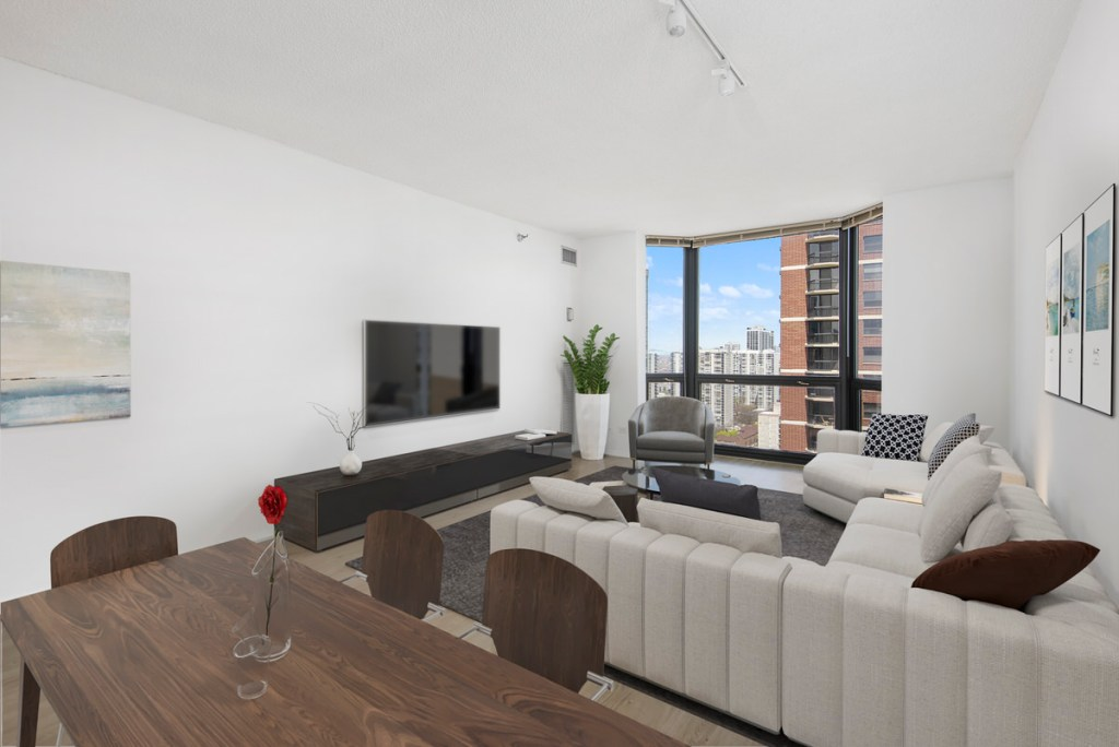 1111 N Dearborn Chicago Apartment Living Room Interior 2