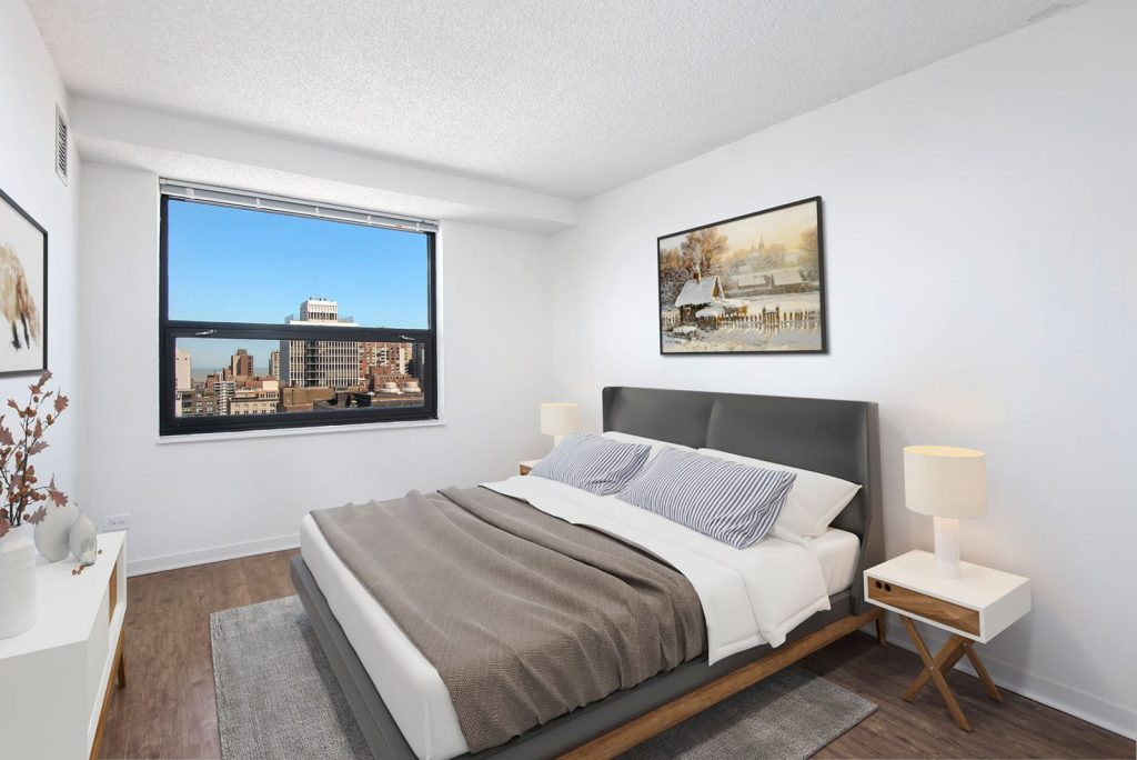 1133 N Dearborn Bedroom with View Interior Chicago Apartments Gold Coast - 5