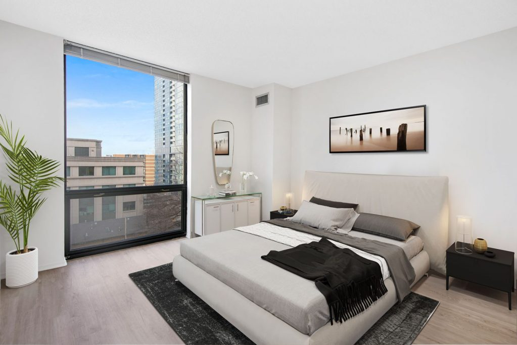 1120 N LaSalle Bedroom with View Interior Chicago Gold Coast - 2
