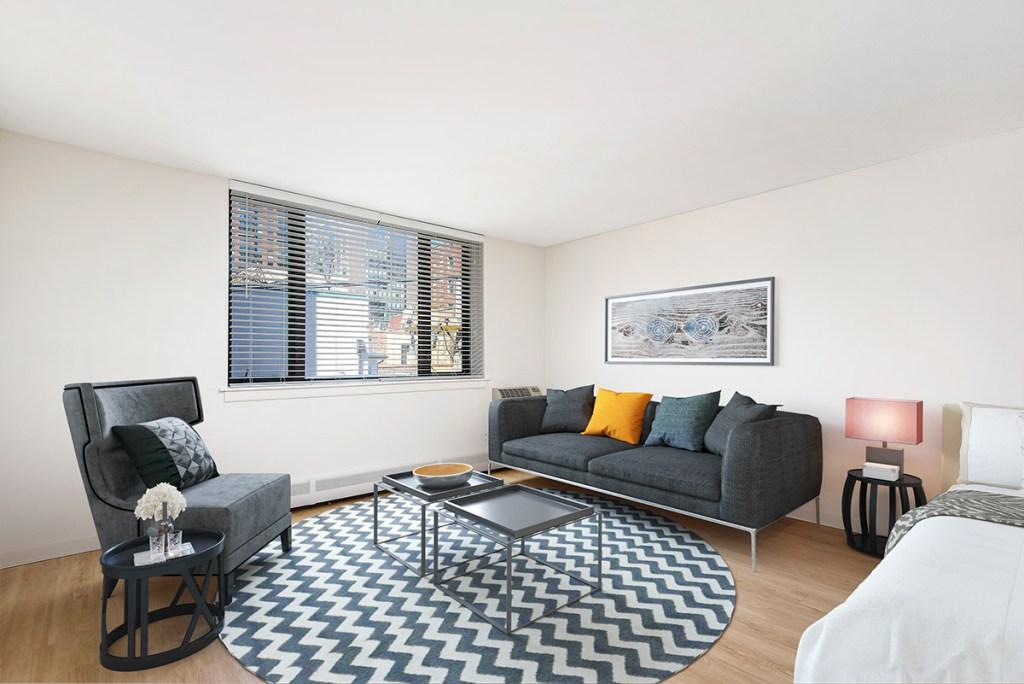 20 E Scott Studio Living Room Interior Chicago Apartments Gold Coast - 1
