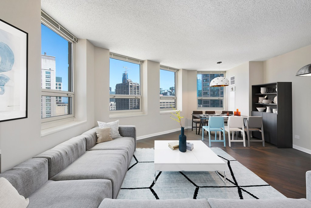 750 N Rush Living Room with View Interior Chicago Apartments River North - 3