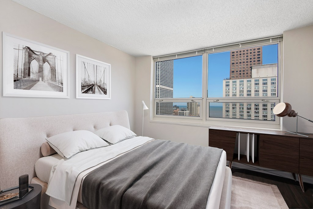 750 N Rush Bedroom with View Interior Chicago Apartments River North - 4