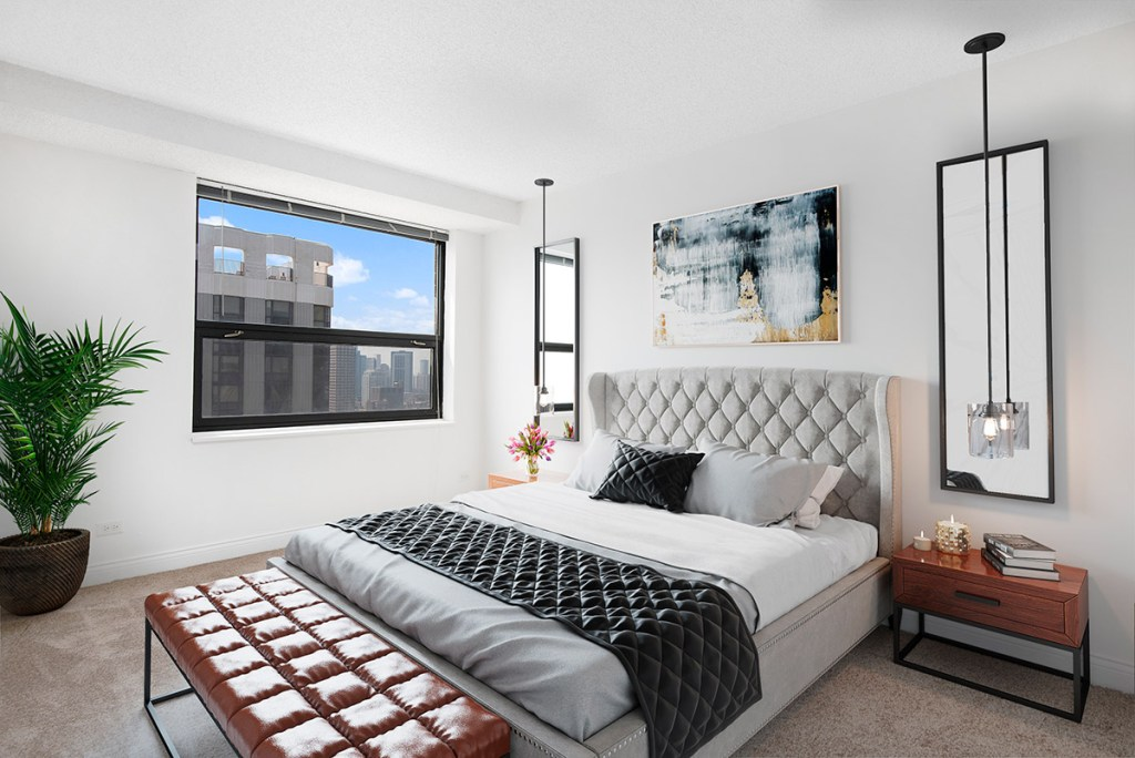 1133 N Dearborn Bedroom with View Interior Chicago Apartments Gold Coast - 1