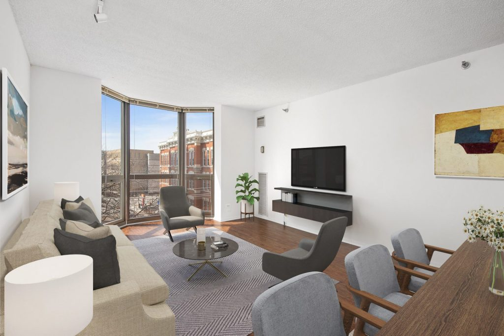 1000 N LaSalle Living Room with View Interior Chicago Apartments Gold Coast - 1
