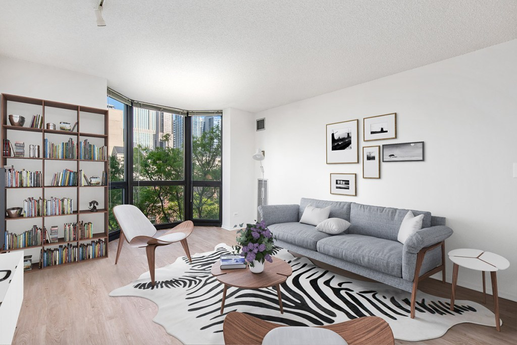1000 N LaSalle Living Room with View Interior Chicago Apartments Gold Coast - 2
