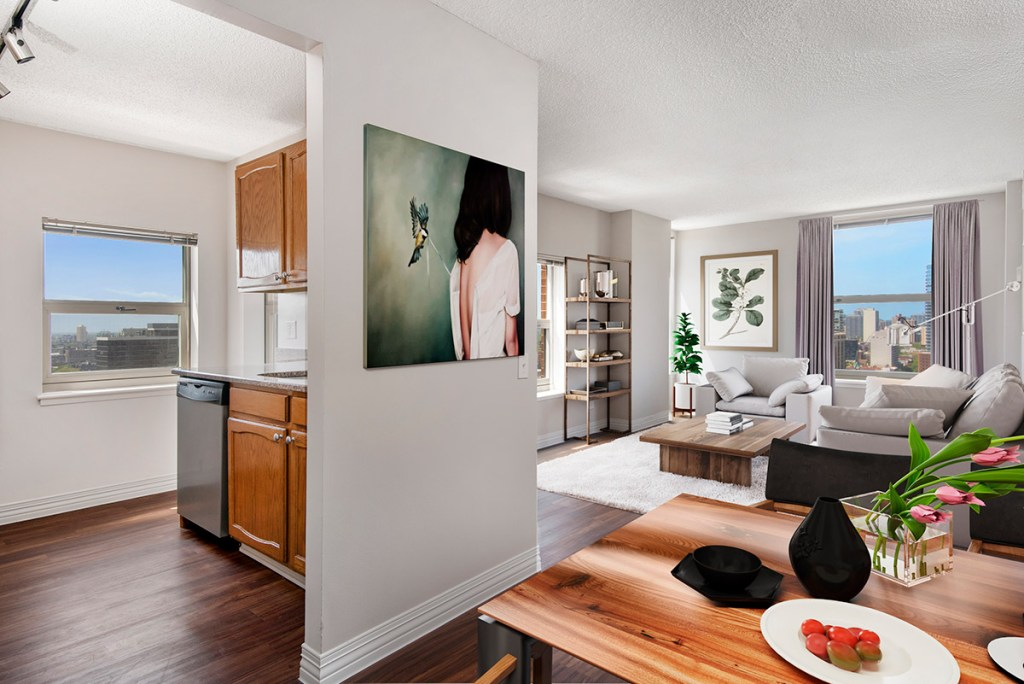 100 W Chestnut Dining and Living Room with View Interior Chicago Apartments River North - 1