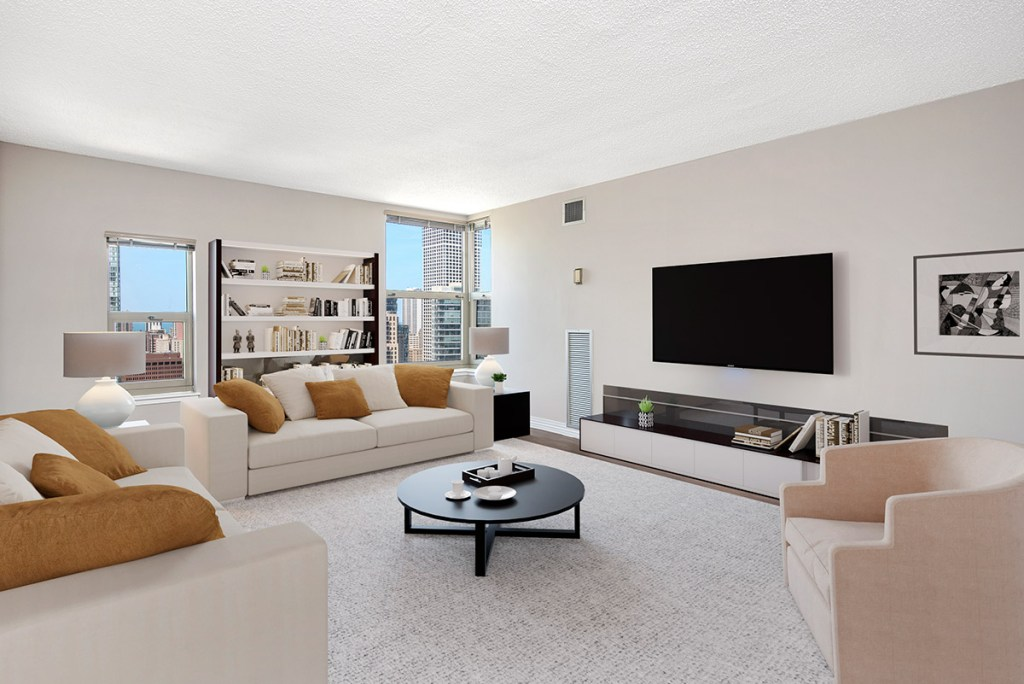 100 W Chestnut Living Room with View Interior Chicago Apartments River North - 3