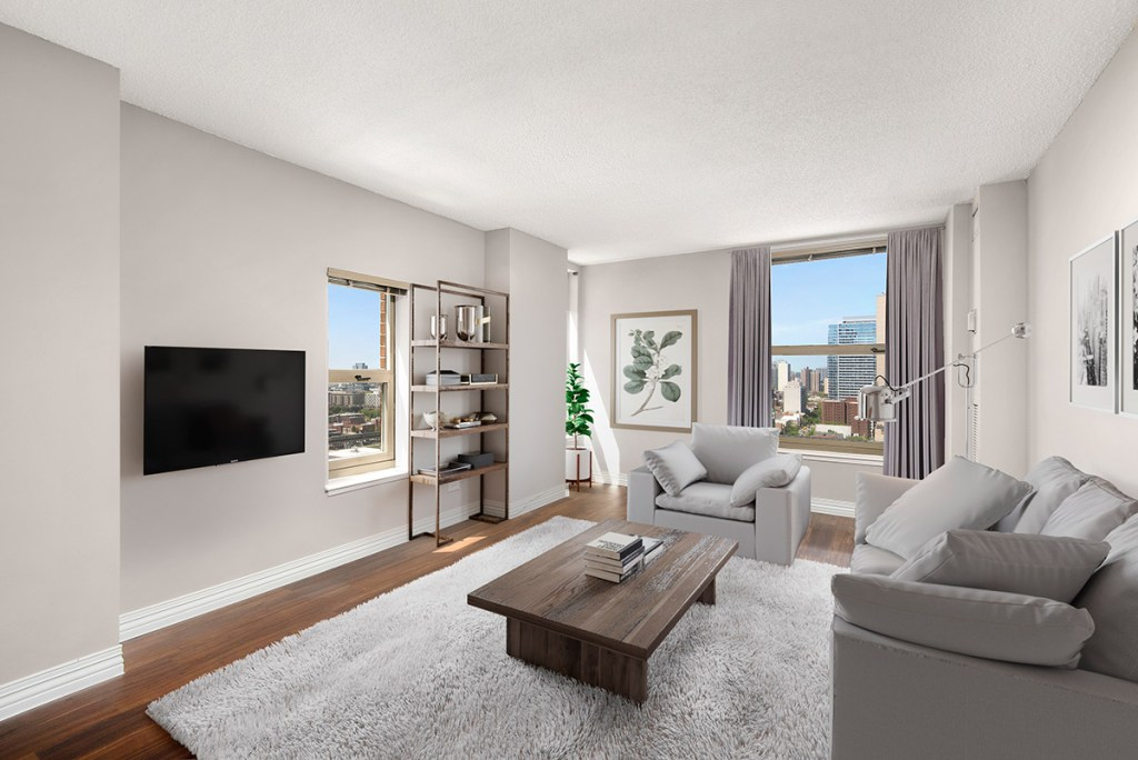 100 W Chestnut Living Room Interior Chicago Apartments River North - 1