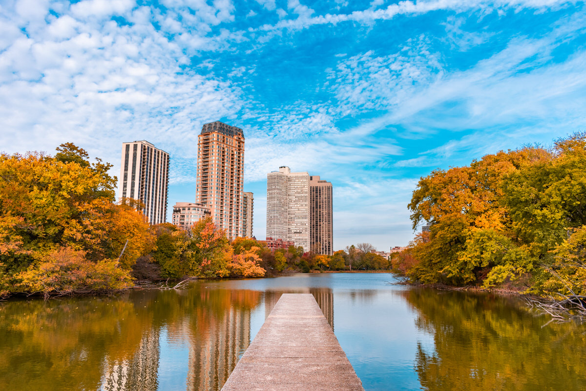Chicago Apartments, Fall Foliage, Lincoln Park