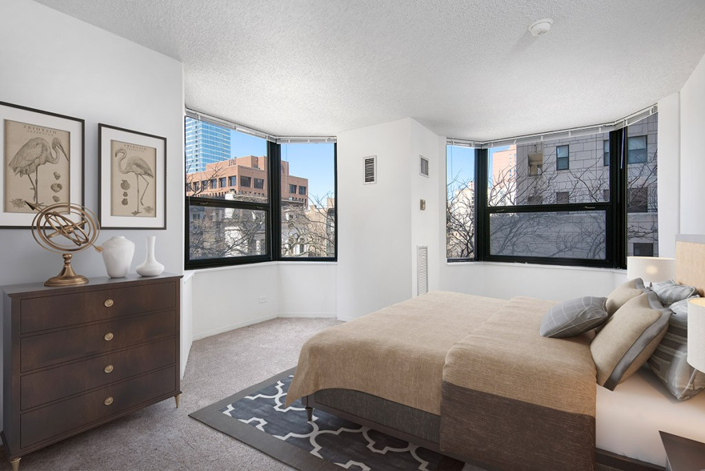 1133 N Dearborn Bedroom with View Interior Chicago Apartments Gold Coast - 3