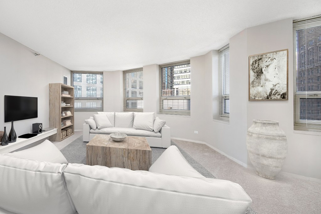 750 N Rush Living Room Interior Chicago Apartments River North - 1