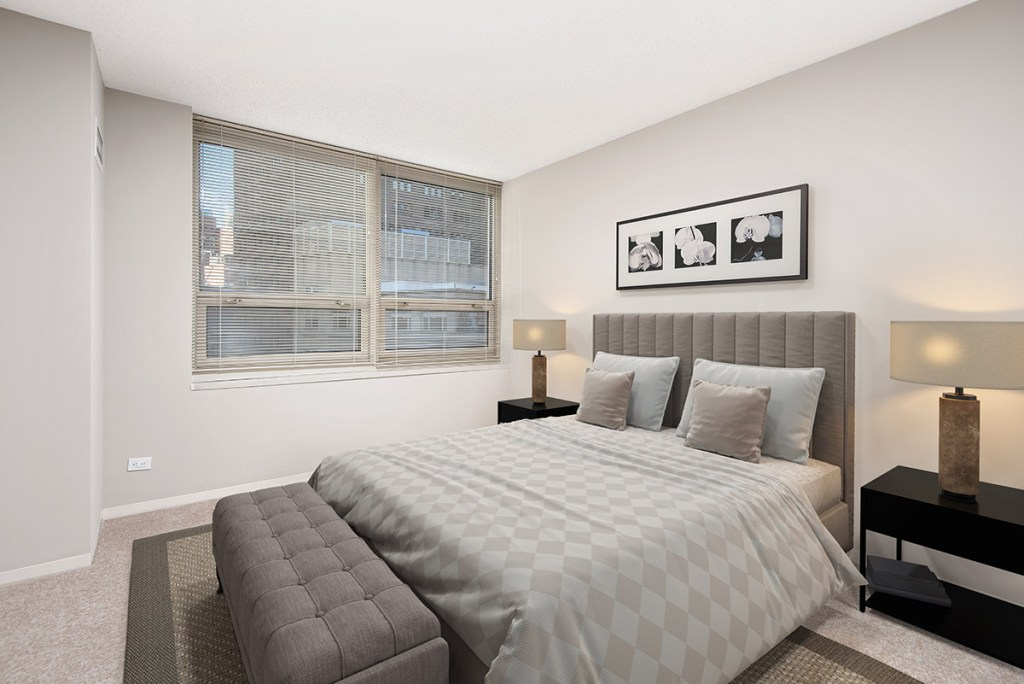 750 N Rush Bedroom Interior Chicago Apartments River North - 1