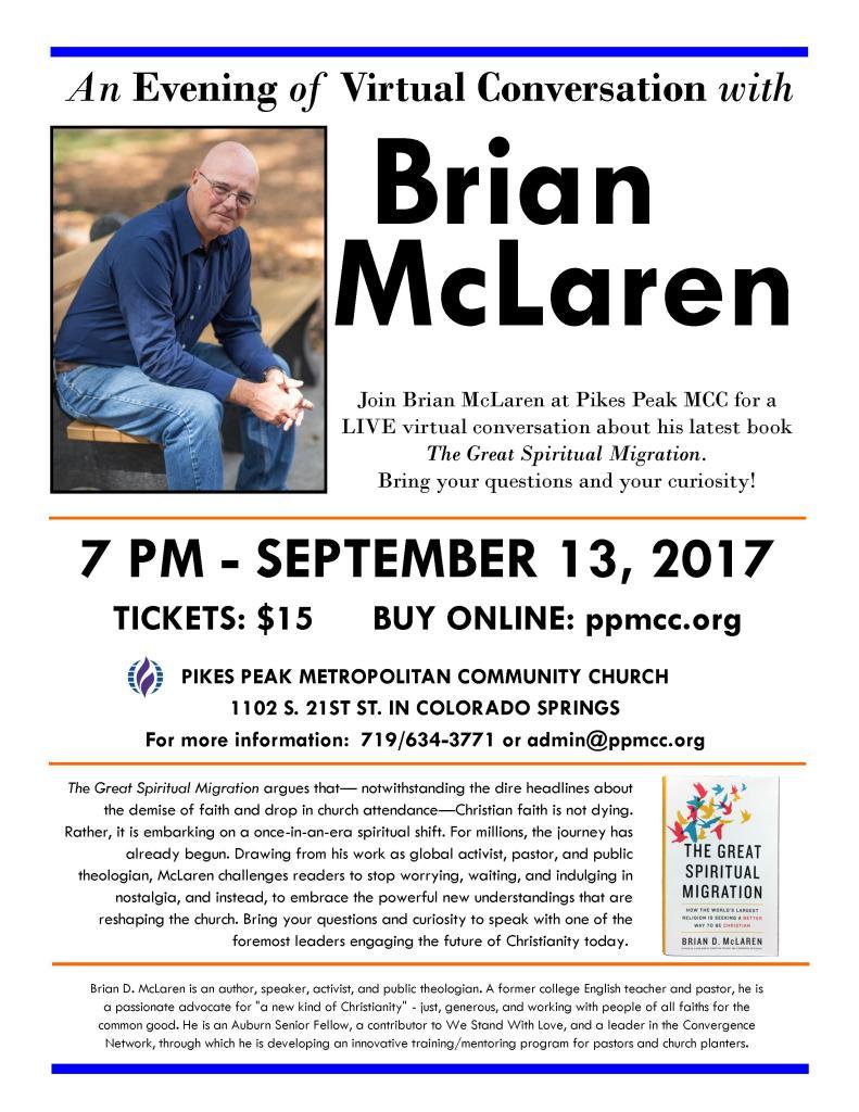 Brian McLaren at Pikes Peak MCC event flier