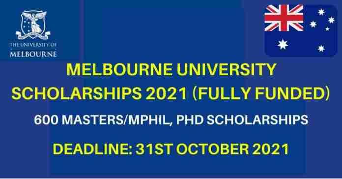 600 Melbourne University Scholarships 2021
