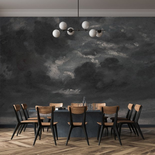 A Modern Dining Room With Moody Wallpaper