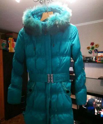 Платье с воротником хомут из трикотажа, зимняя куртка ...