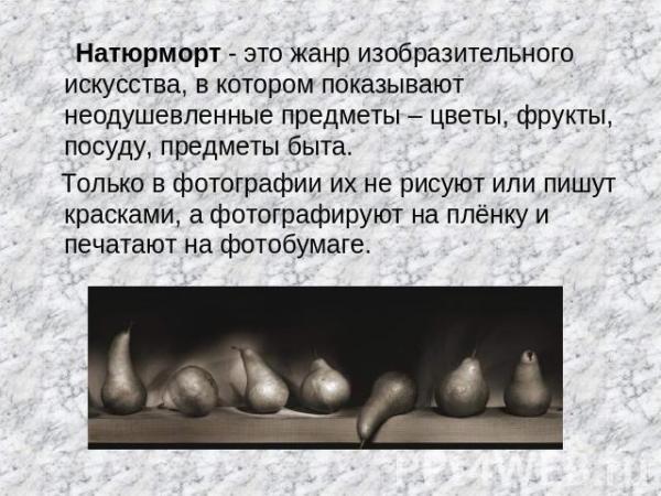 """Презентация """"Фотография – искусство светописи. Натюрморт ..."""